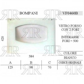 VETRO FORNO TIPO BOMPANI CON 2 FORI 584 X 420 MM